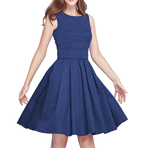iLover 「ラナ」50年代 ヴィンテージドレス コットン純色 Vネック 背中開き ミモレ丈ワンピース 膝丈 ベルト付き 欧美復古風半袖 結婚式 お呼ばれ