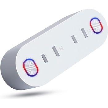 PanamalarWiFiスマートプラグ ダブルスマートプラグ Mini2in1 エネルギー監視 音声コントロール 最大15Aのサージプロテクタ付き (1 Pack)