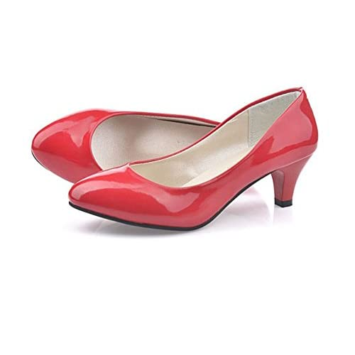 (チェリーレッド) CherryRed レディース 婦人靴 ポインテッドトゥ パンプス 美脚 ハイヒール 無地 歩きやすい 痛くない OL 37 レッド