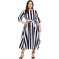 Floerns Women's Plus Size High Waist Striped Swing Midi Dress