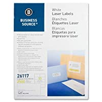 (1, WHITE) - Business Source Bright White Premium-Quality Shipping Labels, 2500/Pack (26117)