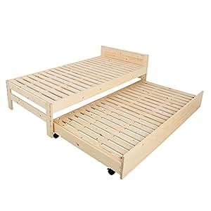 【JAJAN】組合せ自由天然木すのこベッド【シュガー】シングルサイズ ペアベッドセット[低ホル][引出し式2段ベッド]