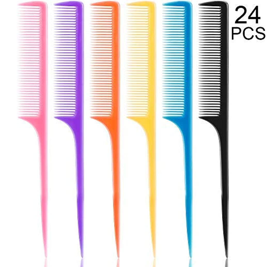 マラドロイトホーン後24 Pieces Plastic Rat Tail Combs 8.5 Inch Fine-tooth Hair Combs Pin Tail Hair Styling Combs with Thin and Long...
