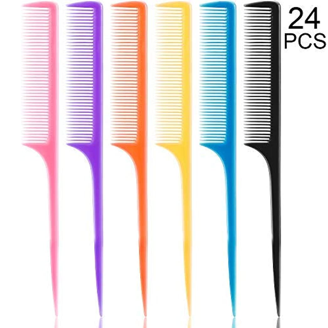 絡まる効率着服24 Pieces Plastic Rat Tail Combs 8.5 Inch Fine-tooth Hair Combs Pin Tail Hair Styling Combs with Thin and Long...