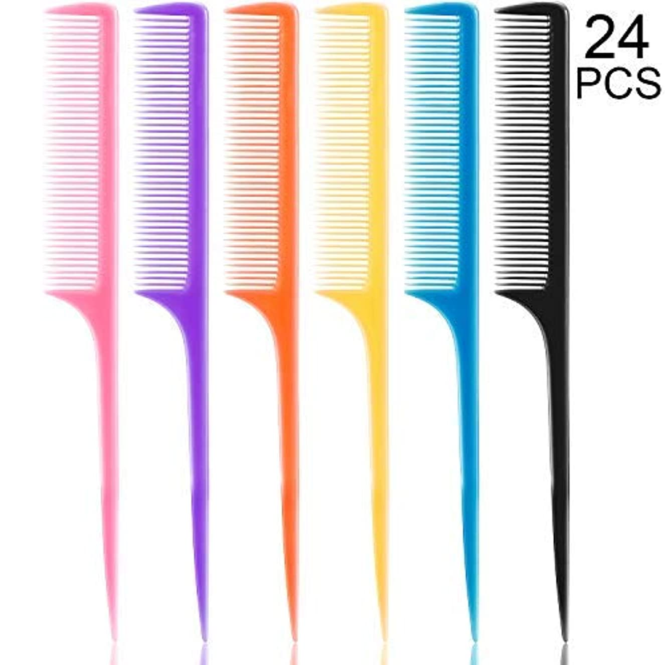 セッティング自信がある共感する24 Pieces Plastic Rat Tail Combs 8.5 Inch Fine-tooth Hair Combs Pin Tail Hair Styling Combs with Thin and Long...