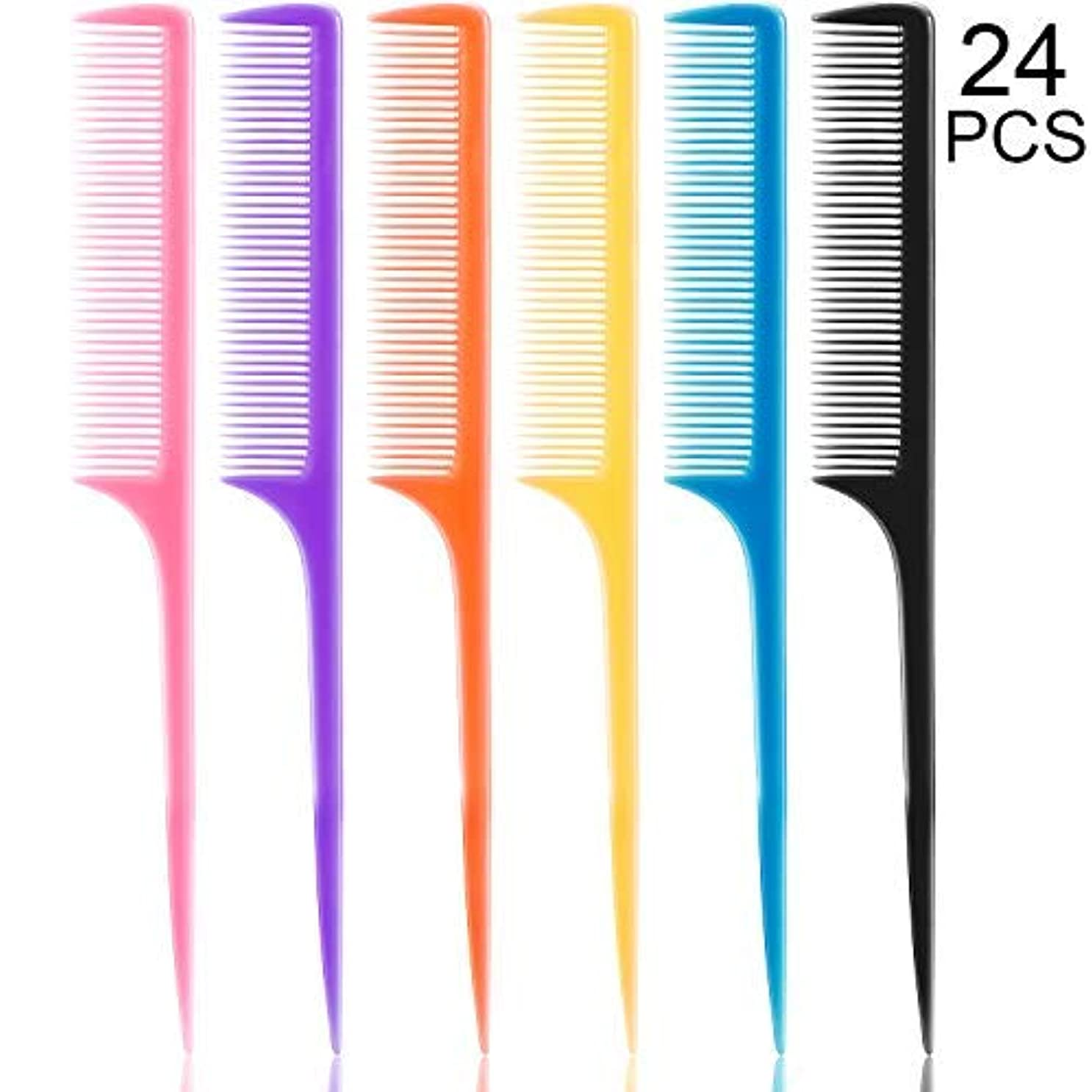 24 Pieces Plastic Rat Tail Combs 8.5 Inch Fine-tooth Hair Combs Pin Tail Hair Styling Combs with Thin and Long...