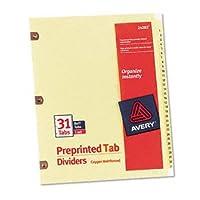 Avery ® Printedラミネートタブディバイダー銅強化穴とインデックス、銅reinfd、1–31(パックof10)