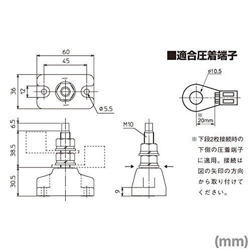 春日電機 TS200R スタッド端子台 (固定式) (適合電線: 100mm2) (定格電流: 600V・240A) (ネジサイズ: M10) NN