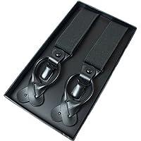 Finest Goods Suspenders for Men Button End Clips Tuxedo Suspenders Mens Suspenders Black Work Braces