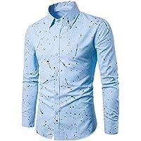 ecursonメンズファッション長袖ドットプリントカジュアルスリムフィットスタイリッシュシャツブラウス XL ブルー LE