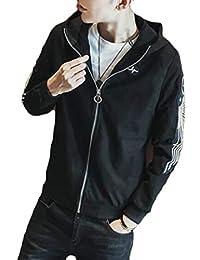 Fly Year-JP メンズカジュアルフォークススエードジップアップフード付きジャケットジャケットコート
