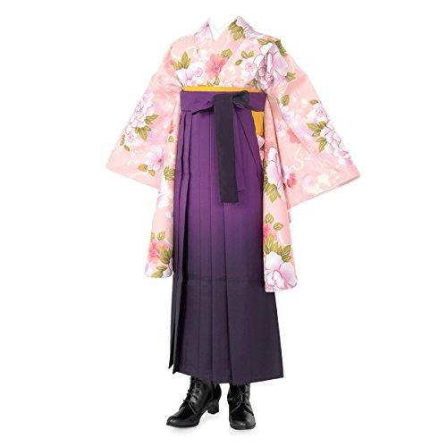 ジュニア女の子 着物袴セット 帯・襦袢付 ピンク 芍薬に雪輪 紫 ショート丈 -