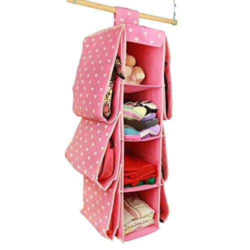 FakeFace 可愛い 衣類 収納ケース 吊り下げ式  収納 ボックス クローゼット 収納ラック ハンガーラック 薄いピンク