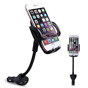 Te-Rich 3in1 車載ホルダー カーチャージャー デュアルUSBポート 携帯スタンド グースネックデザイン 横幅調整可 360度回転可(最大出力5V,3.1A)iPhone7 / iPhone7 Plus / iPhone6S / SONY / Samsungなど対応