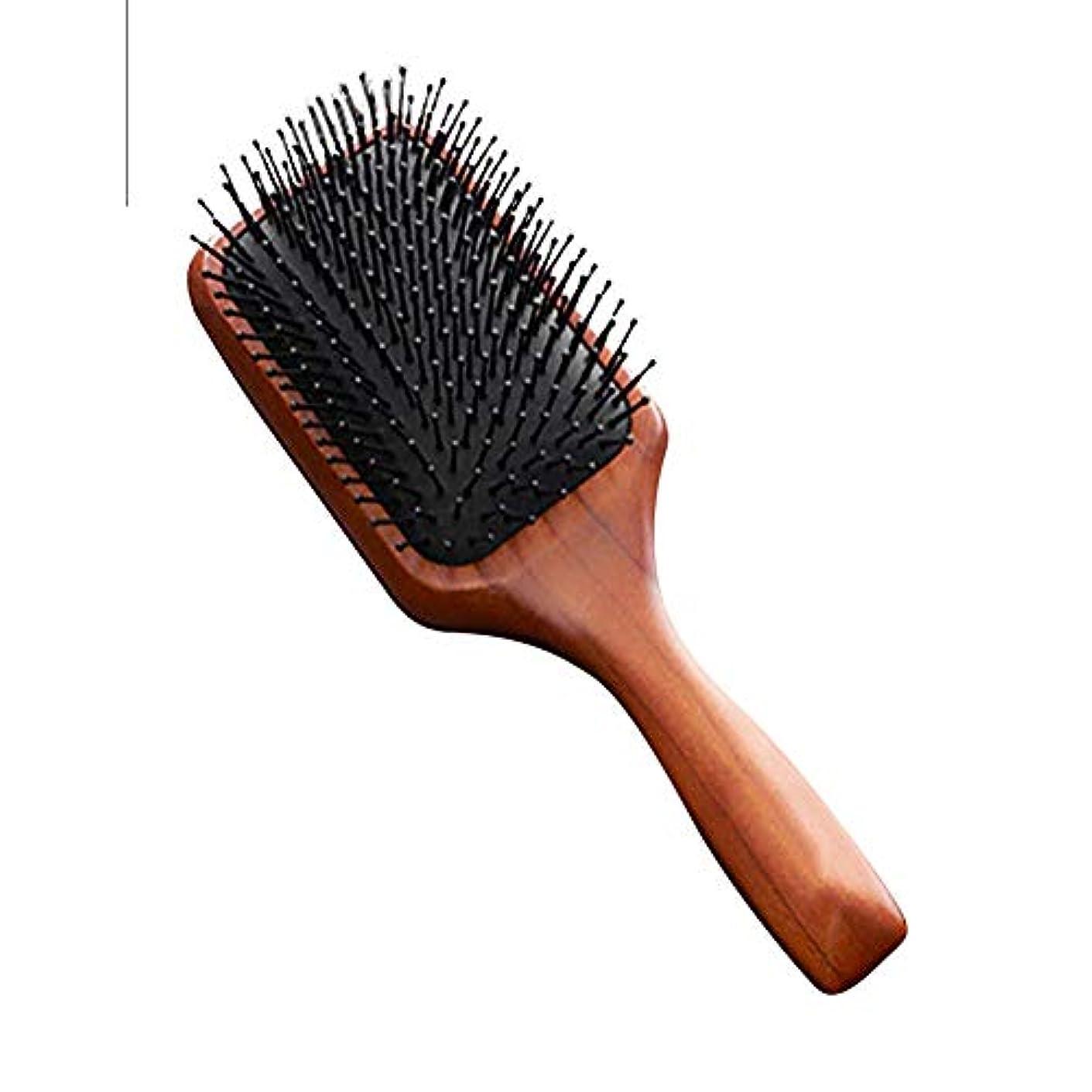 ランプ請願者特性ブラシ 木製の髪の櫛 木製のパドルブラシ 髪の頭皮を改善し 血液循環に入り 男性と女性に適しています