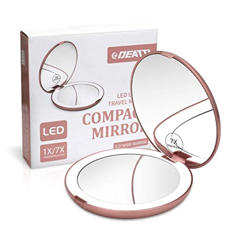 特許滑るロバDEATTI 携帯ミラー 鏡 LED 二面鏡 拡大鏡 7倍と等倍 化粧 おしゃれ ローズゴールド