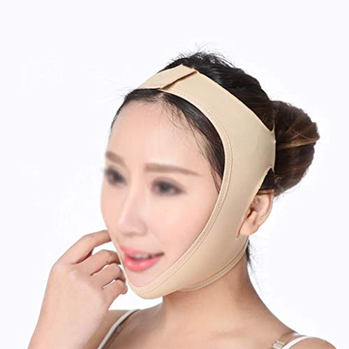 自宅でゴシップバーターフェイシャルチークリフティングマスク、ダブルチンとフェイスを効果的に改善、フェイスリフト包帯、ダブルチンを減らす(サイズ:L),M