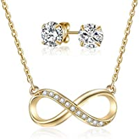 Mestige Gold Infinity Necklace & Earring Set with Swarovski® Crystals, Gifts Women Girls