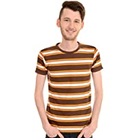 Run & Fly Mens 60's Retro Brown Engineered Striped T Shirt