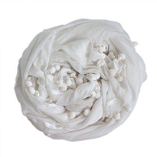 コットンシルク ボンボンストール 「100cm×200cm」レギュラー[UNFIT femme] ufl-110-08_F_WHITE