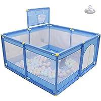 ベビーサークル, ポータブルベビープレイペンシューティングとおもちゃストレージバッグ、滑り止めの安全な幼児、子供のゲームフェンスのためのプレイヤード - ブルー (サイズ さいず : 128 × 128 × 66cm)