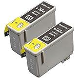 【pomme】 IC1BK05 ブラック 染料 お得な2本セット エプソン対応 互換インク 残量表示機能付 ISO14001/ISO9001認証工場 1年 (IC05 IC06)