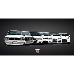 絵画風 壁紙ポスター (はがせるシール式) 日産 歴代GT-R スカイライン ハコスカ ケン&メリー R32 R33 GT-R R34 R35 ニッサン キャラクロ NGTR-003S2 (603mm×301mm) 建築用壁紙+耐候性塗料