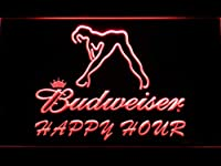 Budweiser Sexy Dancer Happy Hour Bar LED看板 ネオンサイン ライト 電飾 広告用標識 W60cm x H40cm レッド