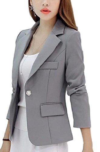 (ミチコト)MICHIKOTO テーラード ジャケット ブレザー スーツ オフィス 通勤 卒業式 入学式 (L, 灰)