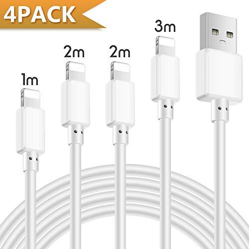ActionPie iPhone 充電ケーブル 【4本セット 1/2/2/3M】USB急速充電&同期 ライトニングケーブル 高耐久 断線防止 アイフォン充電ケーブル iPhoneXS/XR/8/8Plus/7/7Plus/6/6S/5/5S/5C/iPad/iPod 対応 断線防止-ホワイト