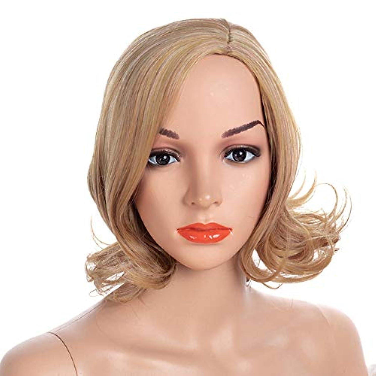 アブセイ観察休日WASAIO スタイルの交換のための女性の短いカーリーブロンドのかつらムッシービューティーCospalyパーティーアクセサリー (色 : Blonde, サイズ : 40cm)