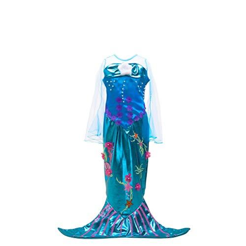dcc44a11f5966 ARAUS 夏 可愛い キッズ 人魚姫ドレス リトルマーメイド ワンピース レース ベルスリーブ プリンセス風 アリエル