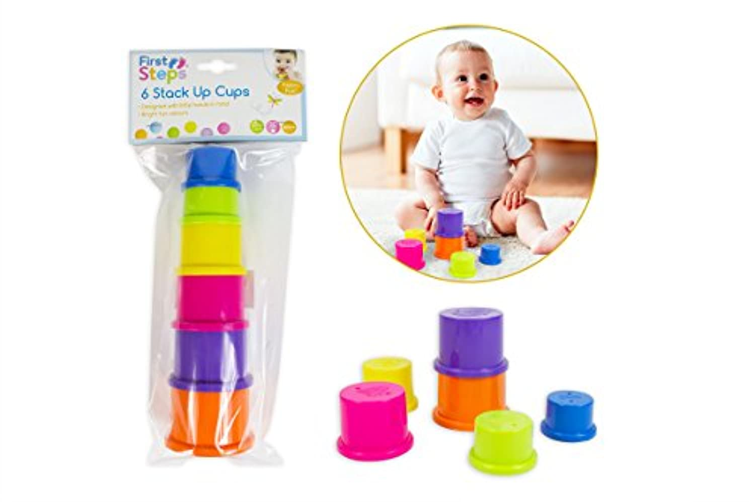 First Steps - 6 Coloured Stack Up Cups - Ideal For 6 Months +