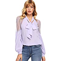 Floerns Women's Bow Tie Neck Long Sleeve Lace Chiffon Blouse Top