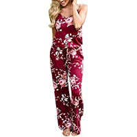 8ba508fdd5c BoodTag Women Floral Jumpsuits Strappy Wide Leg Rompers Summer Tie Up Waist