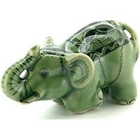 3 D Ceramic Toy Young Green Celadon Elephant No.2 Dollhouse Miniatures Free Ship by ChangThai Design [並行輸入品]