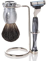 髭剃りセット、ホルダー、グレー?オジャー?ブラシ、カミソリ - Hans Baier Exclusive