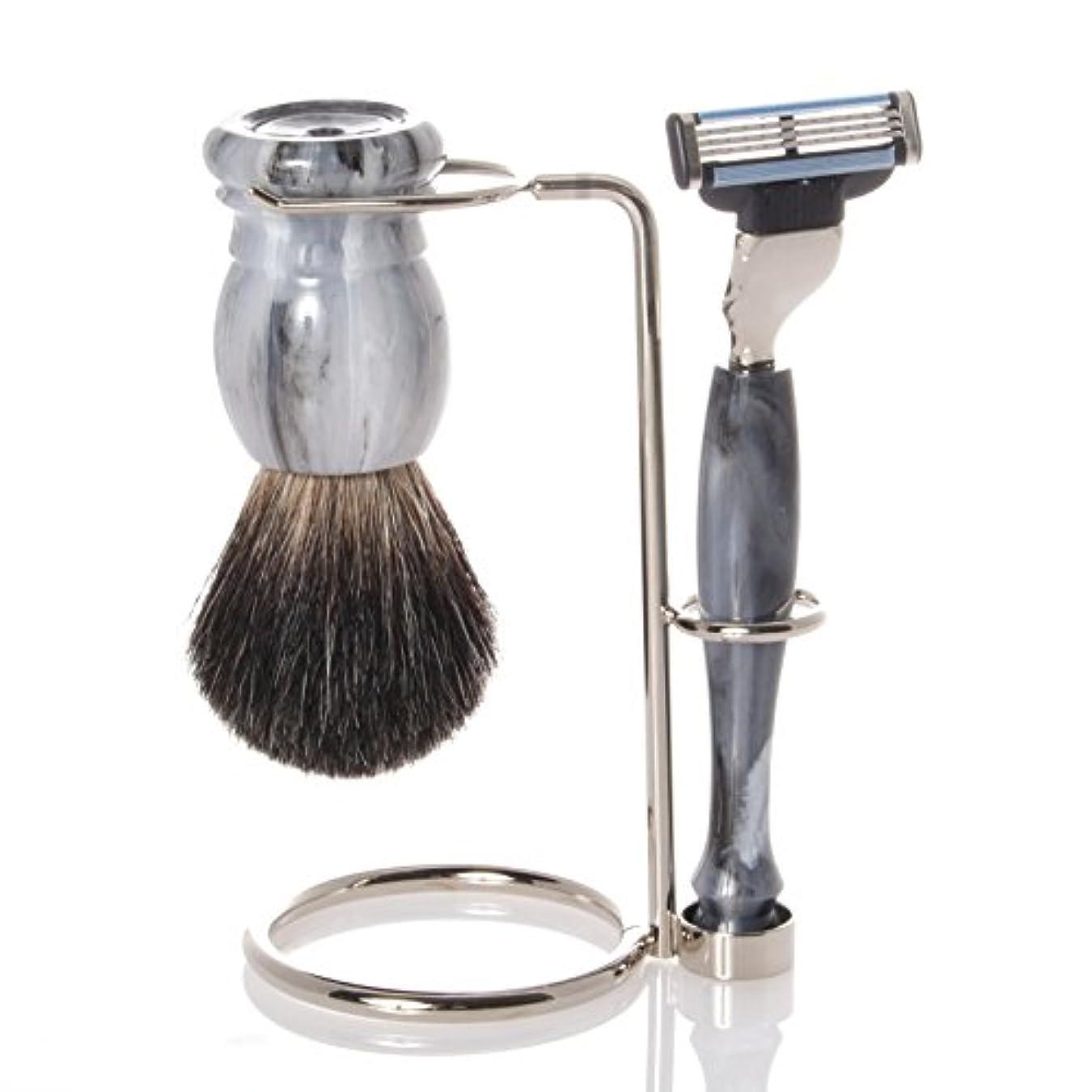 ブロッサムダーベビルのテススペル髭剃りセット、ホルダー、グレー?オジャー?ブラシ、カミソリ - Hans Baier Exclusive