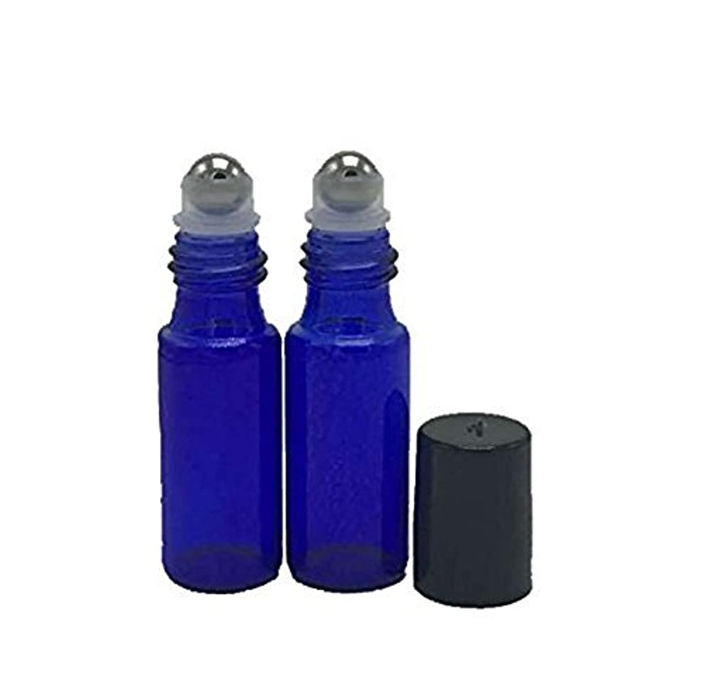 透けるマウスダースHaifly 12 Pcs 5 ml Empty Refillable Rollerball Glass Bottles for Essential Oil with 3 ml Dropper Blue [並行輸入品]