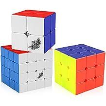 D-FantiX Cyclone Boys 2x2 3x3 4x4 Speed Cube Set, Stickerless Magic Cube Puzzles Toy Bundle Pack of 3