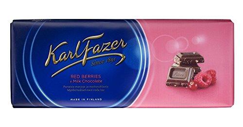 Karl Fazer ラズベリー&クランベリー味 チョコレート 200g 2枚セット (400g) フィンランドのチョコレートです [並行輸入品]