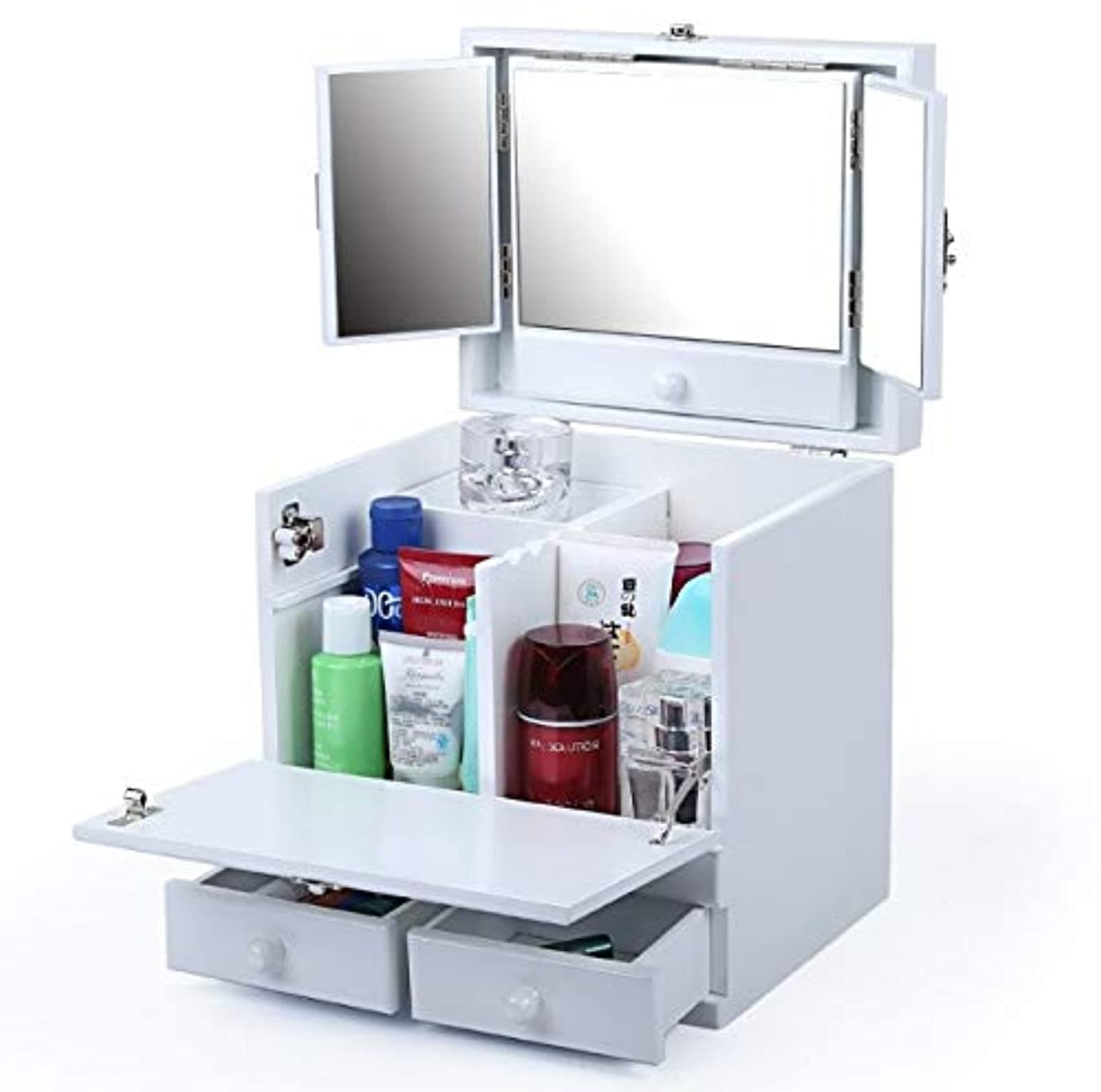 従う凍った適応化粧箱、白のダブルデッカーヴィンテージ木彫り化粧品ケース、ミラー、高級ウェディングギフト、新築祝いギフト、美容ネイルジュエリー収納ボックス