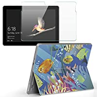 Surface go 専用スキンシール ガラスフィルム セット サーフェス go カバー ケース フィルム ステッカー アクセサリー 保護 その他 海 魚 深海 001393