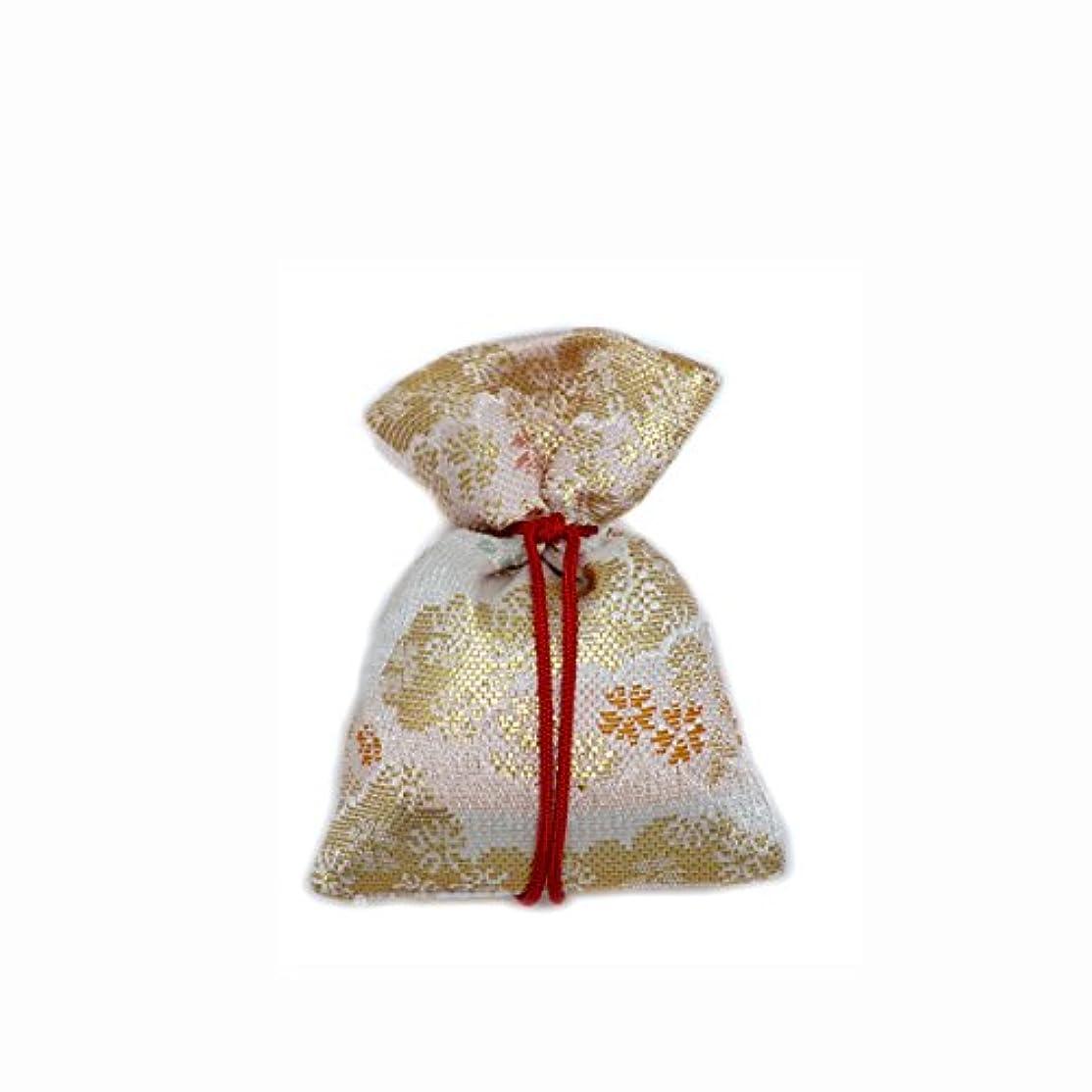 クルーリスク存在する匂袋 巾着 金襴中 白系