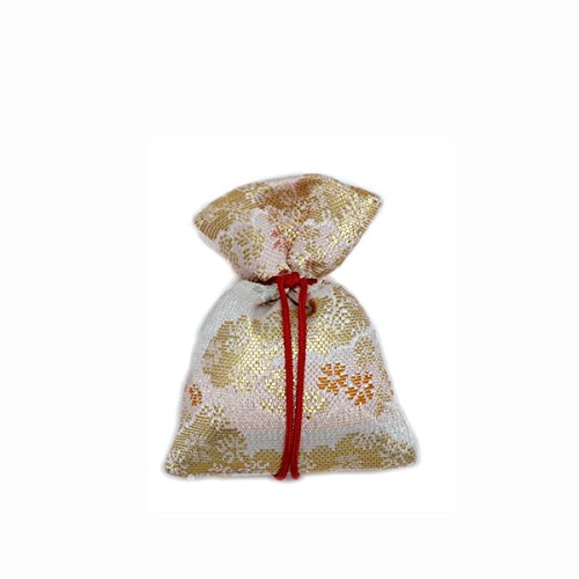 報復する有名認知匂袋 巾着 金襴中 白系