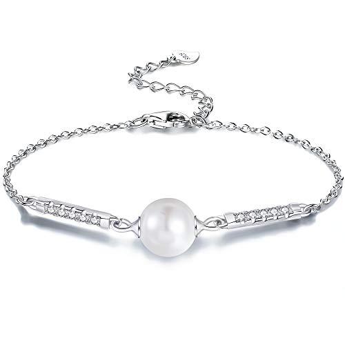 パール ブレスレット 925 純銀製 「愛の守れ」シルバー 一粒 淡水 真珠 ブレスレット レディース 母の日 誕生日 記念日 クリスマス プレゼント ジュエリー BOX 付き