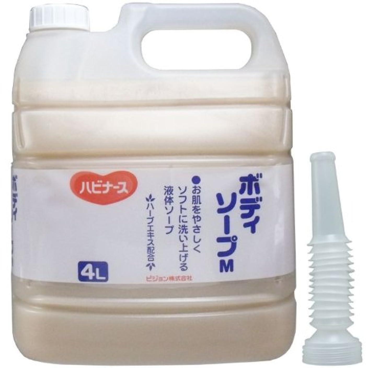 姓穀物少なくとも液体ソープ ボディソープ 風呂 石ケン お肌をやさしくソフトに洗い上げる!業務用 4L【4個セット】