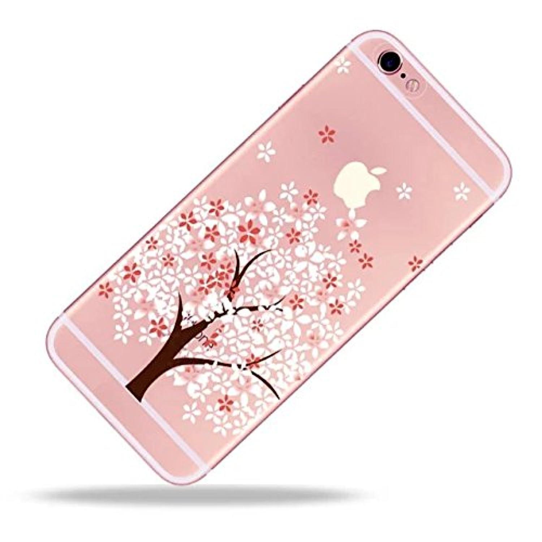 iPhone 6S Plusケース、iPhone 6S Plus 5.5インチケース、iPhone 6 Plusケース、耐衝撃性、耐スクラッチ性、SevenPanda iPhone 6 Plus 6S PlusケースTPUケース保護シリコンクリスタルクリスタルクリアケースクリア、美しいピンクピンクピンクの花フラワーフラワーピンクのパターン透明なソフトシリコン保護ケースモバイル 電話ベルトケースカバーケースカバーケースカバーTPUバンパーケースiPhone 6S Plus 6 Plus - 桃の花10