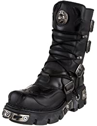 New Rock Shoes - Black Flaming Demon with Pentagram Design Boots