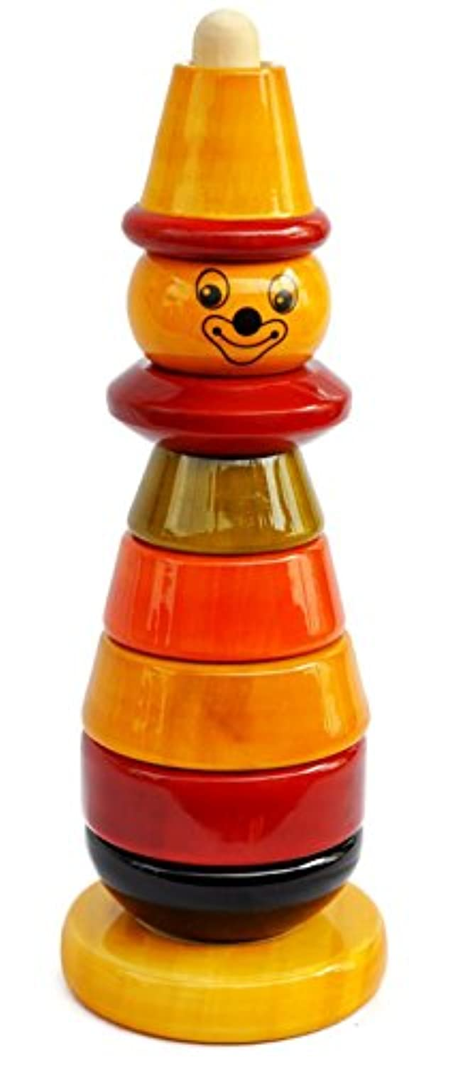 Handmade Wooden Stacking Toy Clownカラーを使用自然Made for Toddlers 18ヶ月Old and up , Helpsで早期教育と開発| Bibbo by Maya Organic